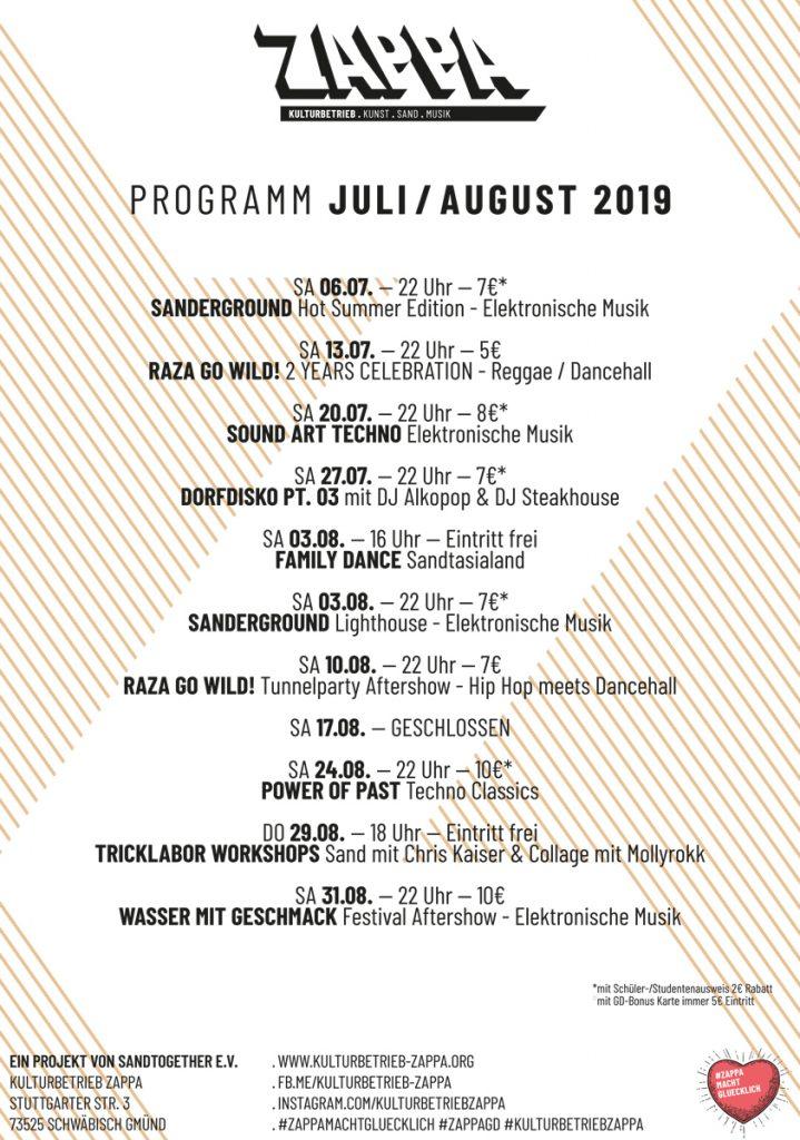 Kulturbetrieb ZAPPA Monats Programm Juli / August 2019